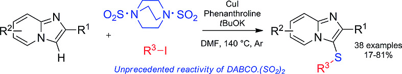 Exploring the unexpected reactivity of DABCO‐bis(sulfur dioxide) on various imidazo[1,2‐a ]pyridines expanded the toolbox of the sulfenylation reagent. Starting from three simple building blocks, this three‐component transformation led to various C‐3 sulfenylated substituted imidazo[1,2‐a ]pyridines in moderate to good yields.